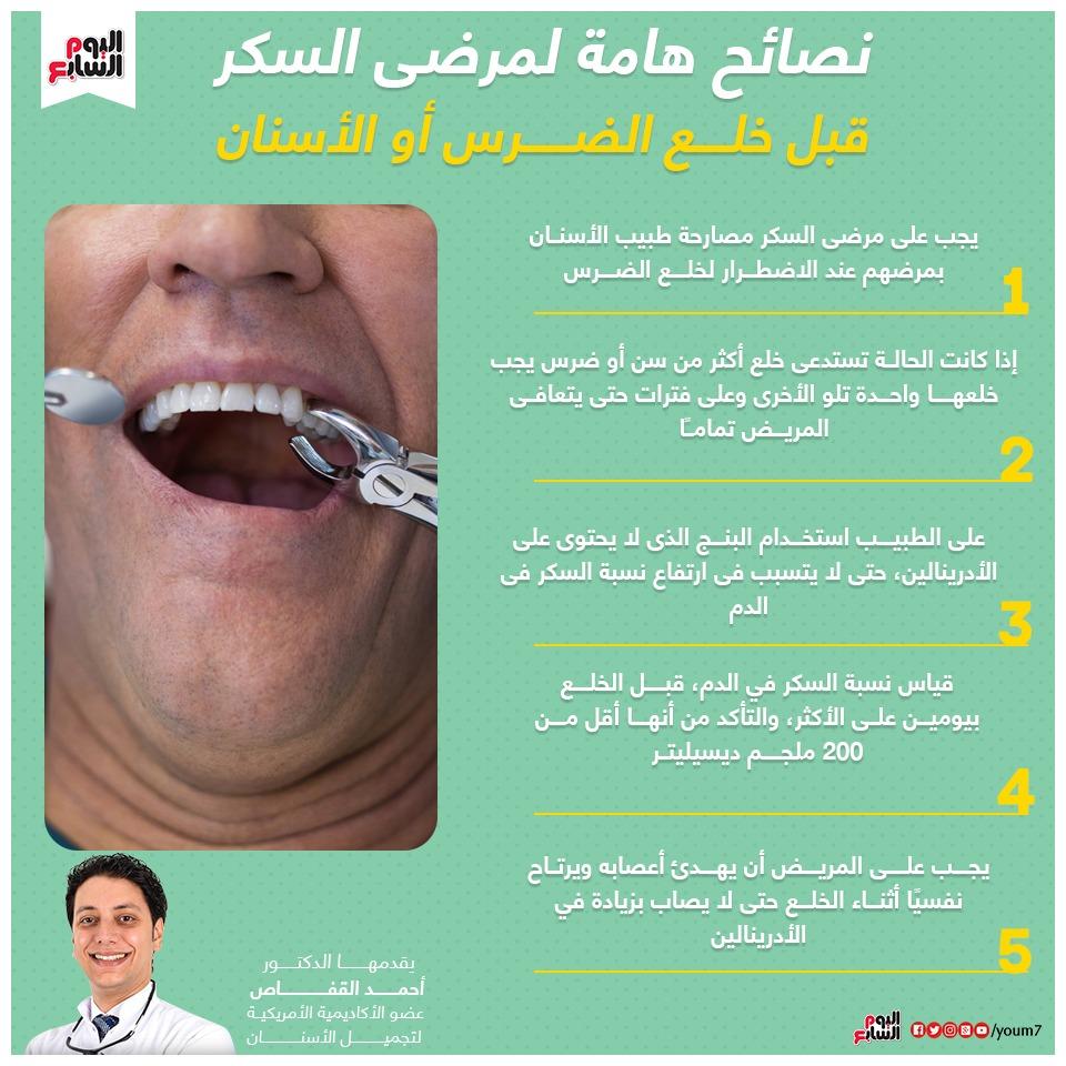 إنفوجراف دكتور أحمد القفاص يوضح تعليمات هامة قبل خلع الأسنان لمرضى السكر