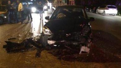 Photo of اشتعال النيران في سيارة نتيجة حادث تصادم أعلى الطريق الدائري